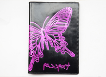 HASSION passport without logo and lining   emboss purple butterfly in outside leather